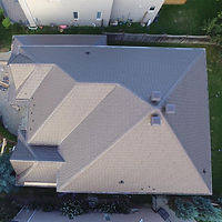 drone over metal roofing