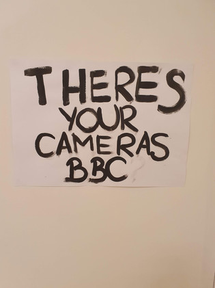 There_s Your Cameras BBC, wallpaint on foolscap, A1, 2019