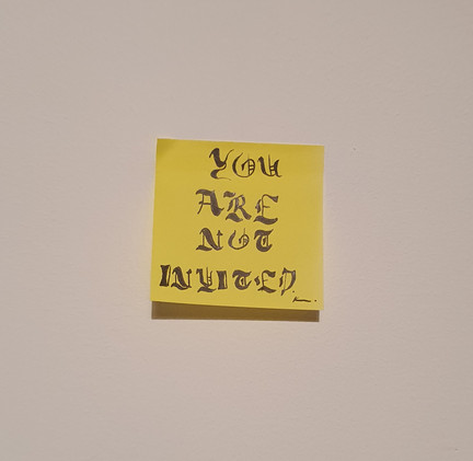 You Are Not Invited, permanent marker on post it noted, 3.7cm x 3.7cm, 2020