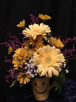 Smile Mug Flower Arrangement #515