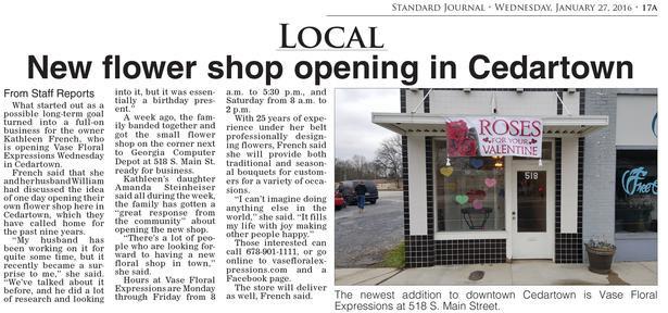 New Flower Shop Newspaper
