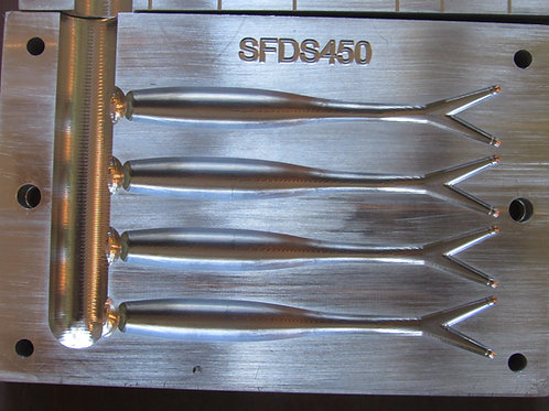 SFDS450 4.5 inch 4 cavity drop shot / jerk bait mold