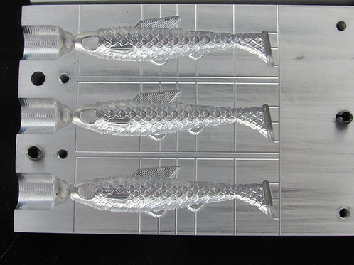 """3.5"""" swimmer bait mold top inject 3 cavity"""