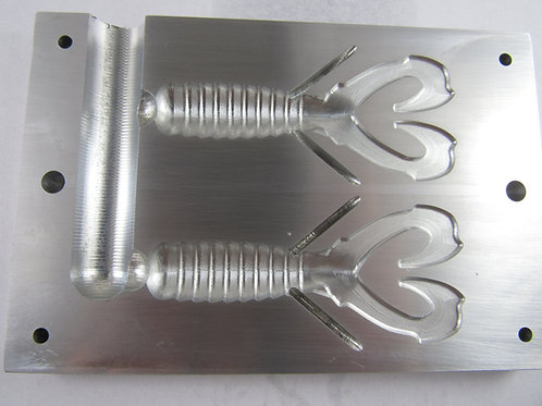"RBBC350 3.5"" twin cavity creature bait injection mold"