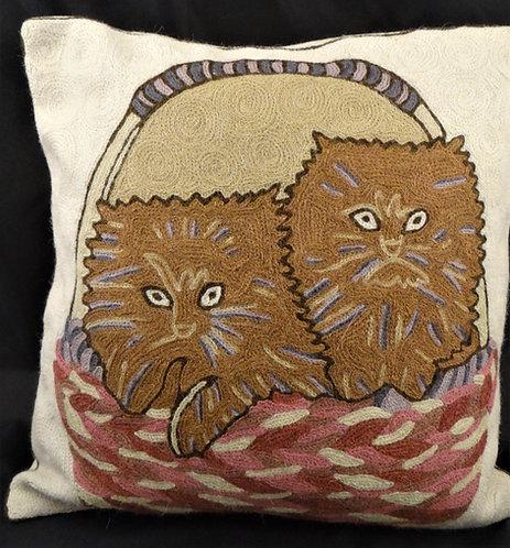 Kashida Cat Basket Pillow Cover