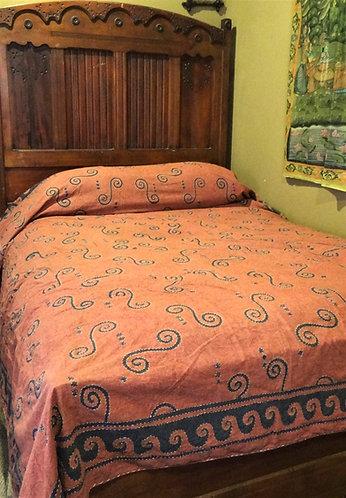 Swirl Embroidered Stitch Queen Bedspread