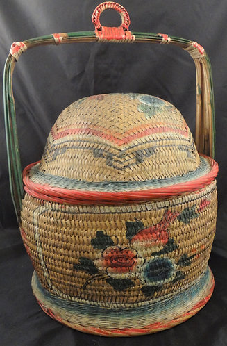 Antique Chinese Wedding basket with Tray