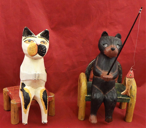 KItty & Fishing Bear on a Chair