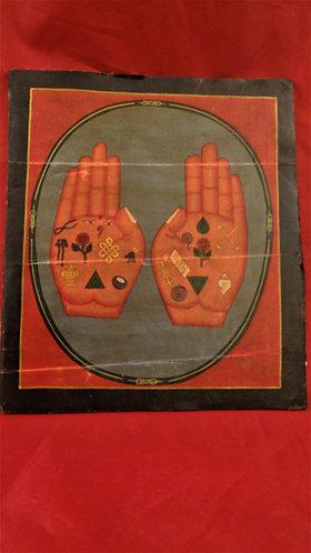 Red Buddha Hand with Auspicious Symbols