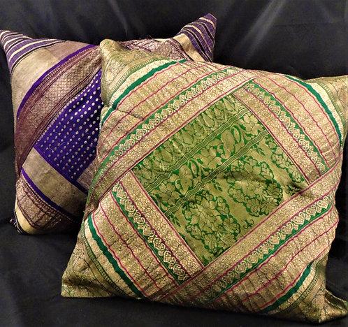 Vintage Sari Patchwork Pillow Covers