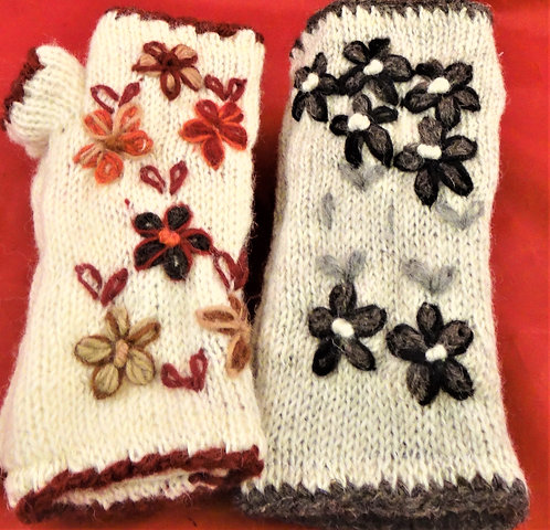 Flowers On Cream Gloves