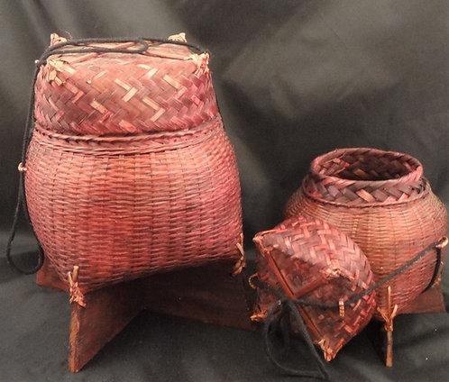Bamboo Rice Baskets:2 Basket Set
