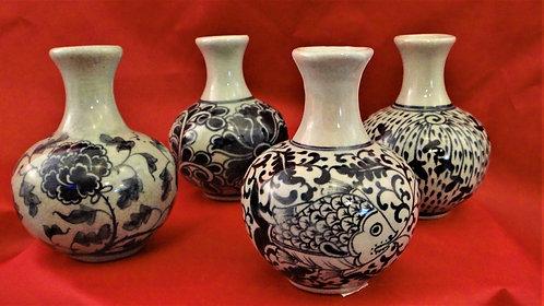 Small Bottleneck Vases in Celedon