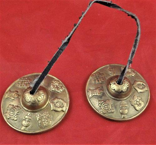 "2.5"" Tingsha Cymbals: 8 Ashtamangalas Symbols"