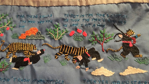 Tiger Story: Charming Hmong Embroidered Wall Hanging