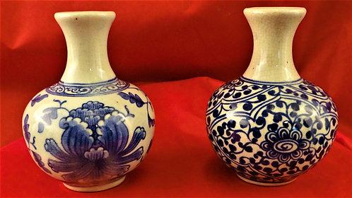 Small Bottleneck Vases in Blue
