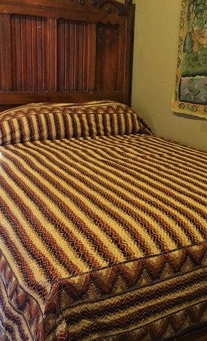 Stripey Embroidered Stitch Queen Bedspread