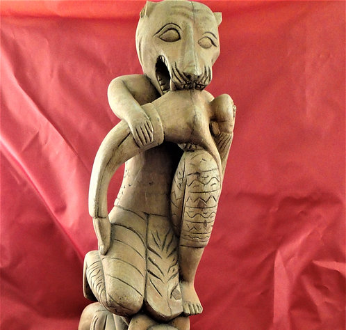 Lion Carrying Woman Kneeling on a Person Ox Cart Prow Decoration