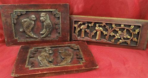 Antique Cabinet Door Panels: A Pair & A Single