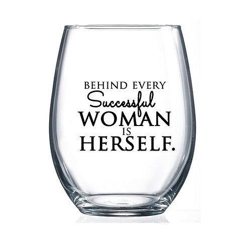 Successful Woman. 15oz Stemless Wine Glass
