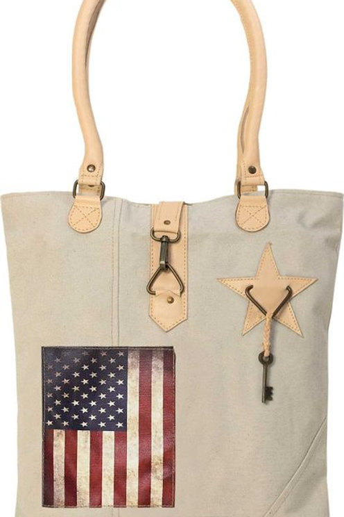 US Flag Canvas Tote