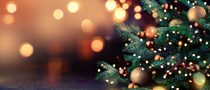 Decorated Christmas tree on blurred back