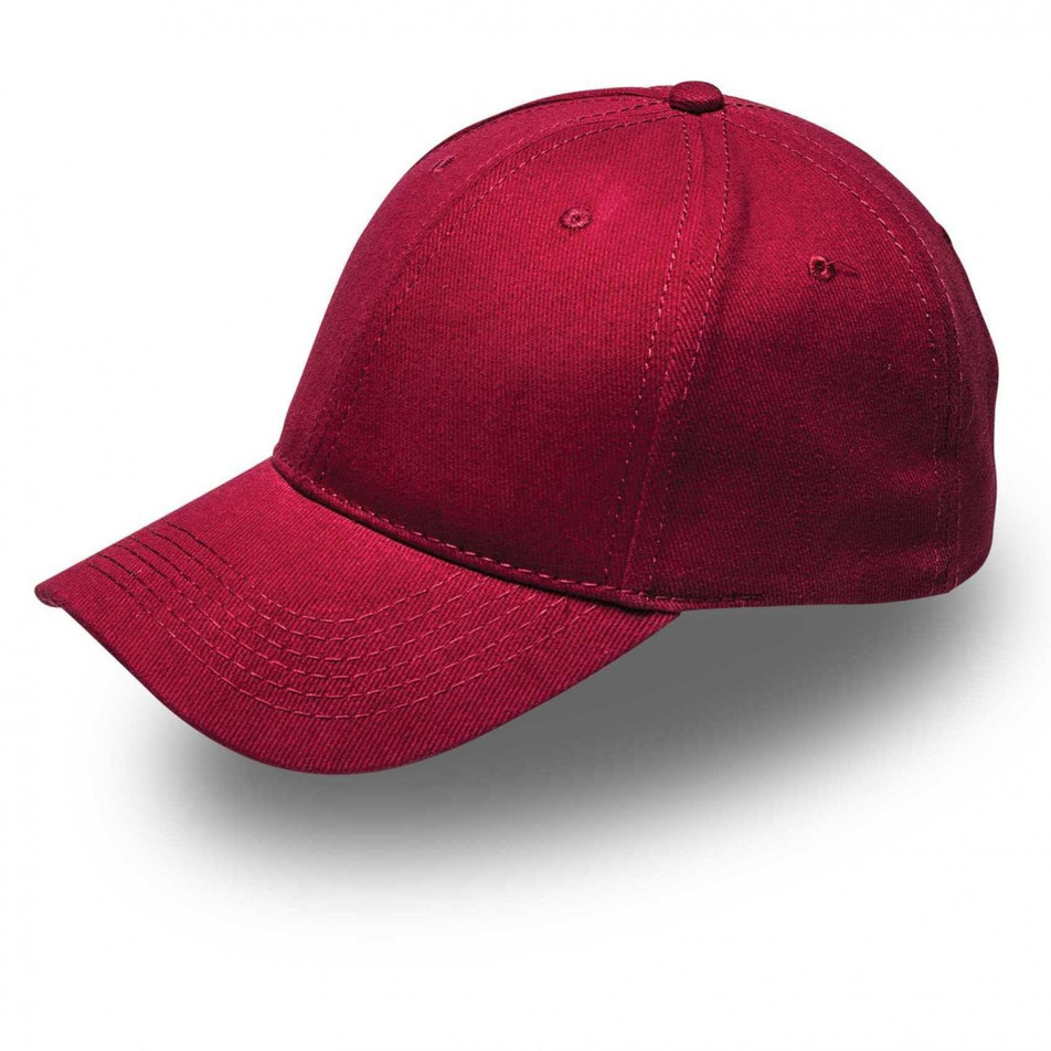 Burgandy 6 Panel Brushed Cotton Cap