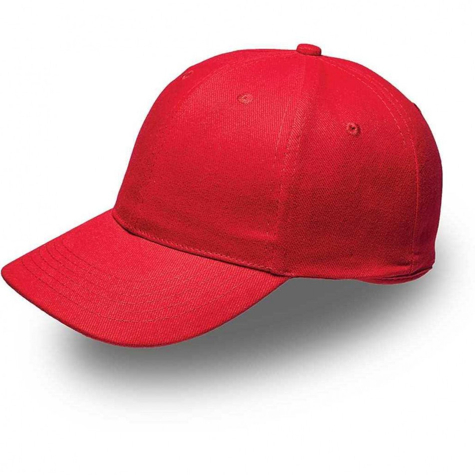 Red 6 Panel Brushed Cotton Cap