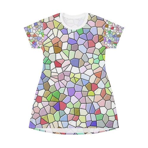 Colorful Mosaic Design T-Shirt Dress