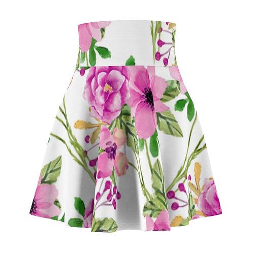 Pink Floral Women's Skater Skirt