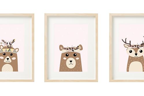 סט 3 תמונות - במבי, דובי ודוב - ורוד