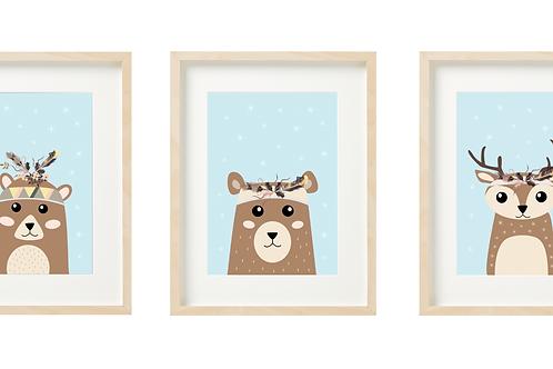 סט 3 תמונות - במבי, דובי ודוב - כחול