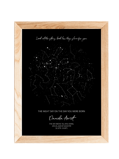 STAR MAP - BLACK  | מפת כוכבים אישית