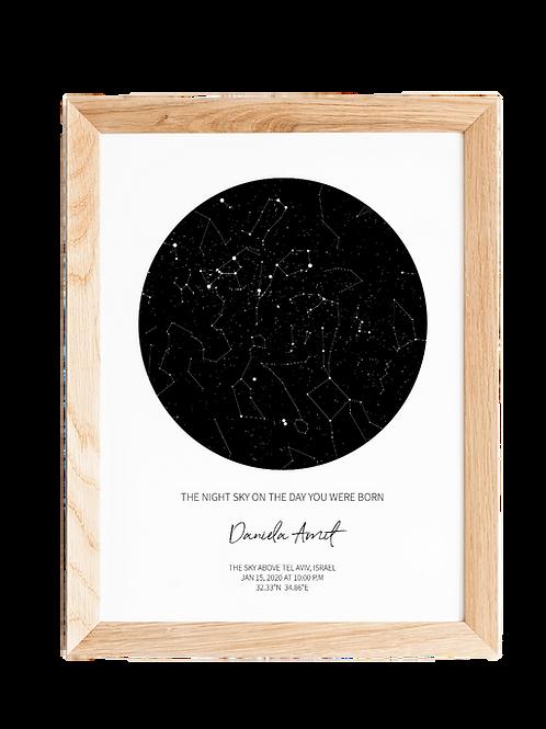 STAR MAP - WHITE    מפת כוכבים אישית
