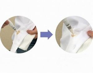 しみに液をたらし、トントンとたたいた後に水で流すか拭くと落ちます