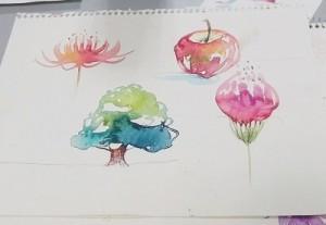 カラトを使用したイラストは水筆を使うと水彩の様な風合い