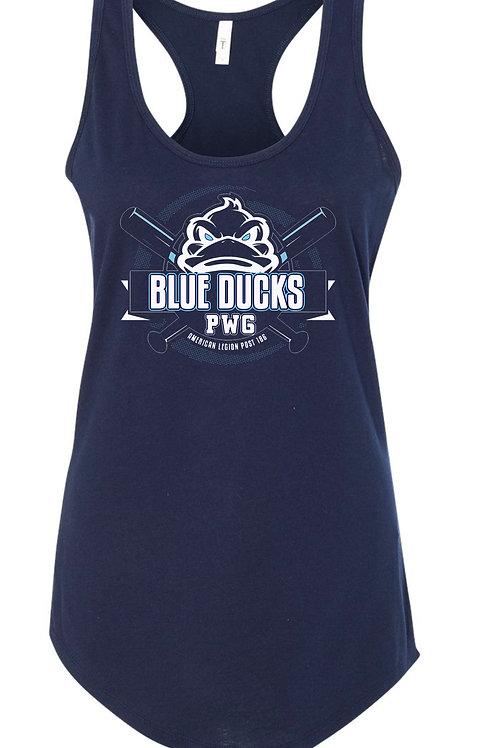 Blue Ducks Women's Racerback Tank Navy