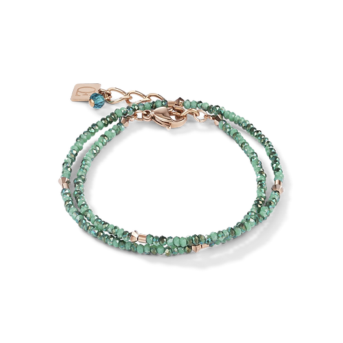 COEUR - Armband small crystal roségold & petrol