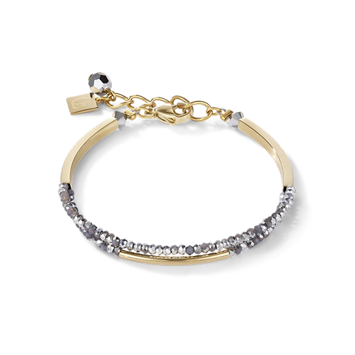 COEUR - Armband Wasserfall small Edelstahl gold & Glas silber