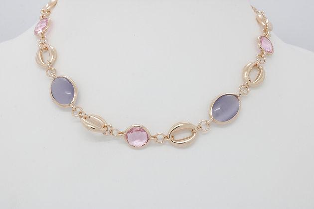 MÜLLER - Halskette mit lila und rosa Steinen