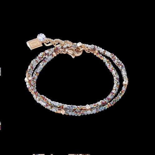 COEUR - Armband small crystal roségold & hellblau