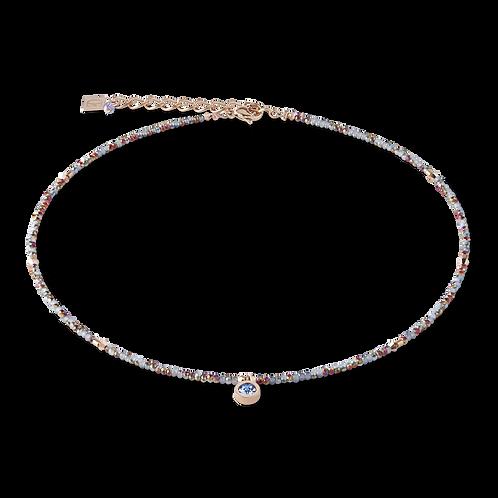 COEUR - Halskette small crystal roségold & hellblau