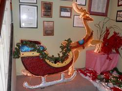 Christmas sled and reindeer lighted