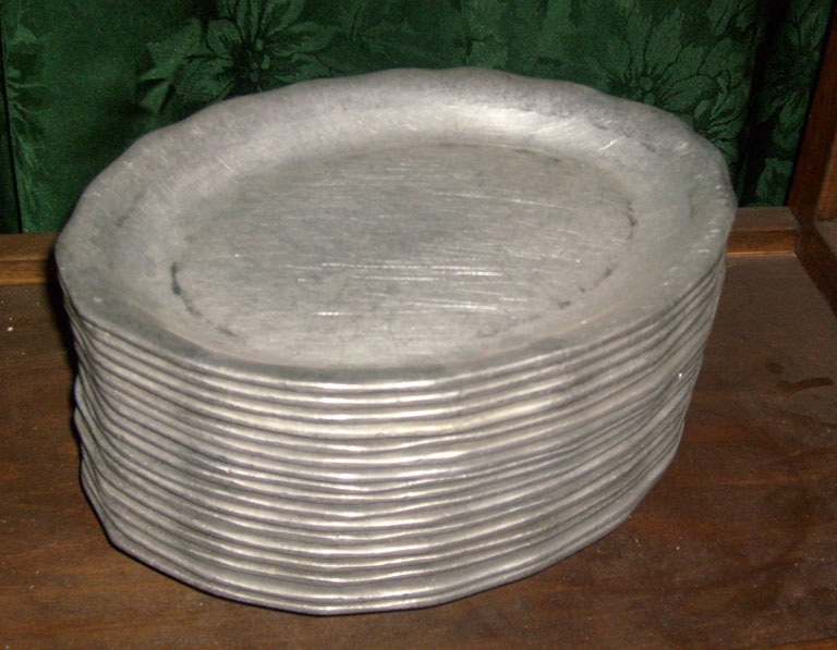 Pewter plates oval
