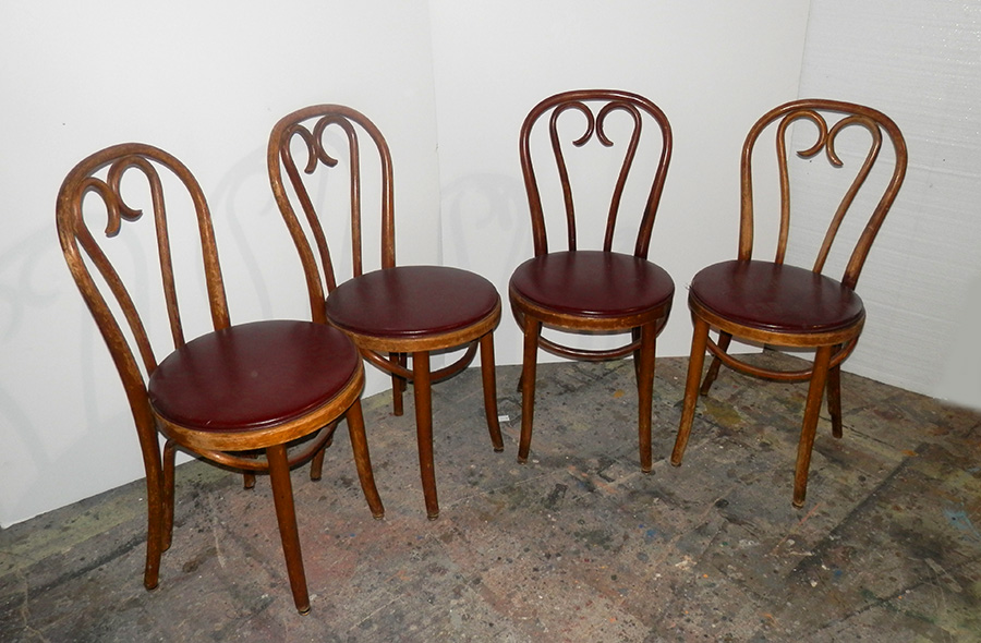 Bent Wood with Maroon Seat Chairs