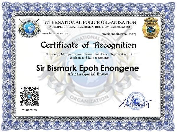CERTIFICATE OF RECOGNITION Enongene Bism