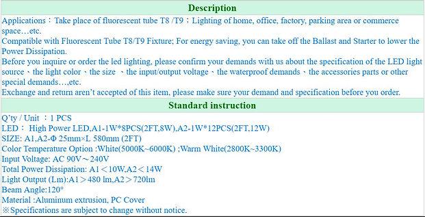 LED T8 Tube CVG-2FT(8W,12W) (Description