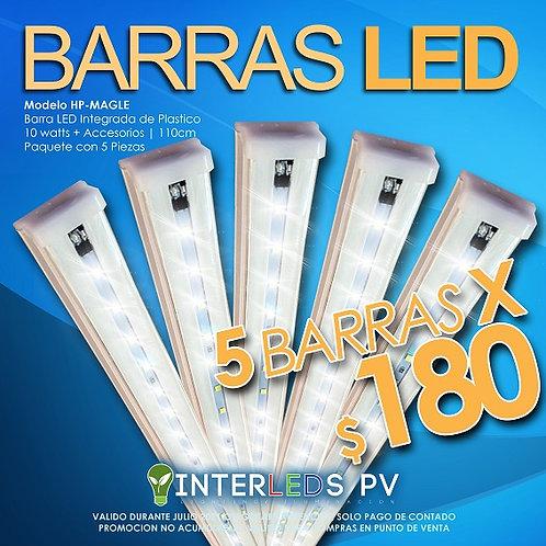 5 Lamparas LED Plástico Integrada 10w T8W10N1 - HP-MAGLE-20T8