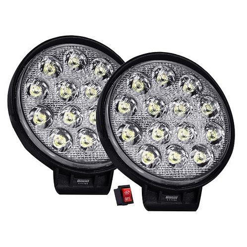 Par de Faros LED Redondos 42w 14 LED OSN0123