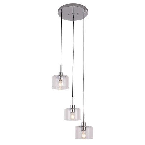 LAMPARA COLGANTE CROMO CRISTAL 3 LUCES - C096-3/CR - CALUX